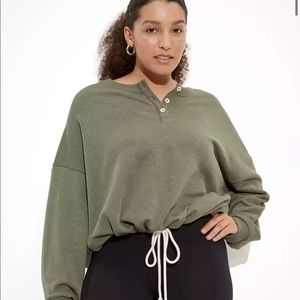 American Eagle Olive Green Cinched Henley Pullover